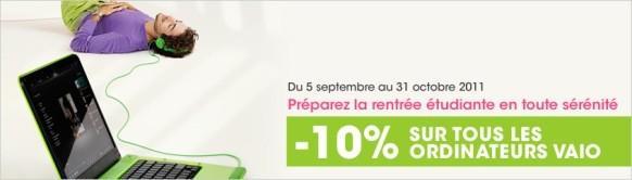 Réduction Sony VAIO -10 % pour les étudiants